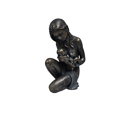 The Urban Port Antique Sitting Women Holding Child Statue Sculpture in Patina Black Finish ()