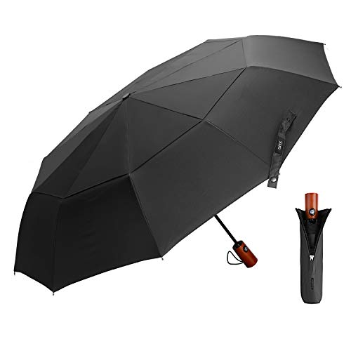 EKOOS Travel Umbrella, Compact Folding Umbrella Large with 40.55 inch Windproof Teflon Coating Double Canopy Construction - Auto Open/Close Button 10 Rib Wood Handle