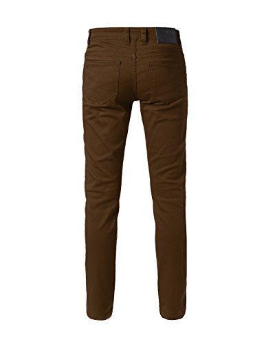 JD Apparel Men's Basic Casual Colored Skinny Fit Twill Pants 30Wx30L Brown