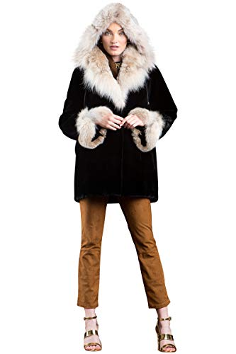 EM-EL Women's Detachable Hooded Black Sheared Beaver and Canadian Lynx Fur Jacket
