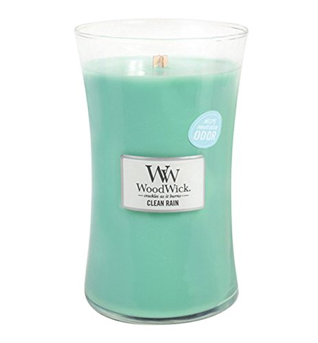 - Clean Rain WoodWick Odor Neutralizing 21.5 ounce Scented Jar Candle