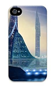 PC Hard Shell Building Antasy and Abstract for Iphone 4 4s 3D Case