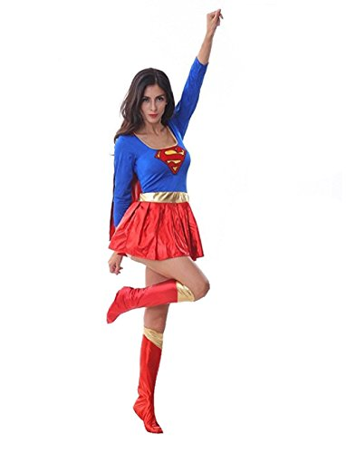Costums For Halloween Adults (Women's Supergirl Superwoman Adult Costum for Halloween Cosplay Party)