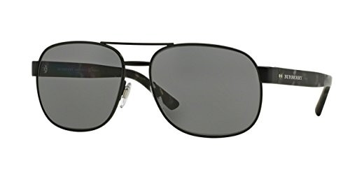 Burberry Men's BE3083 Sunglasses Matte Black / Polar Dark Grey - Men Burberry Shades