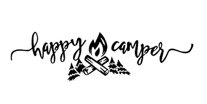 Happy Camper Vinyl Decal Sticker Camp Hiking Camping Rv Trailer BLACK
