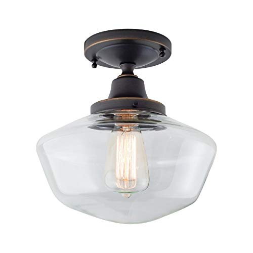 Schoolhouse 1 Light Flush Mount in Oil Rubbed Bronze with Clear Glass