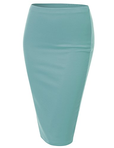 J.TOMSON Women's Basic Stretchy Semi Formal Slim Fit Midi Pencil Skirt TURQUOISE M