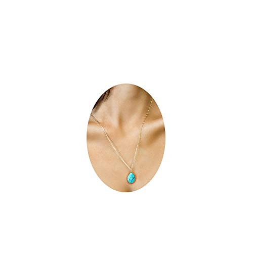 Teardrop Turquoise Pendant Necklace,14K Gold Plated Dainty Chain Faceted Natural Stone Jewelry For Women