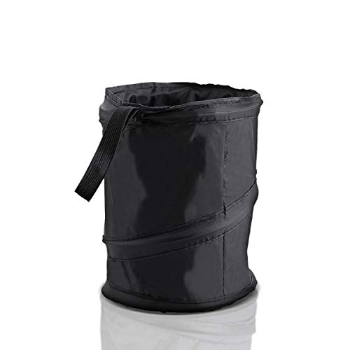 Zone Tech Universal Traveling Portable Car Trash Can - Black Collapsible Pop-up Leak Proof Trash Can