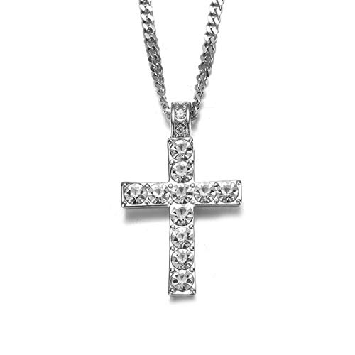 Cross Necklace for Men Crystal Pendant Sliver Chain Hip Hop Bling Jewelry