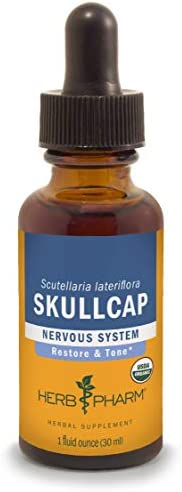 Herb Pharm Certified Organic Skullcap Liquid Extract for Nervous System Support, Organic Cane Alcohol, 1 Ounce