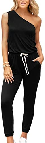 Angashion Women's Jumpsuits-Camouflage Striped Solid Casual Loose Sleeveless Elastic Waist Long Pants Rompers