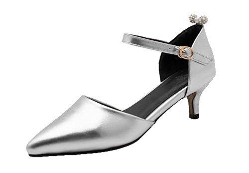 VogueZone009 Women's Blend Materials Kitten-Heels Closed-Toe Sandals, Silver, 34