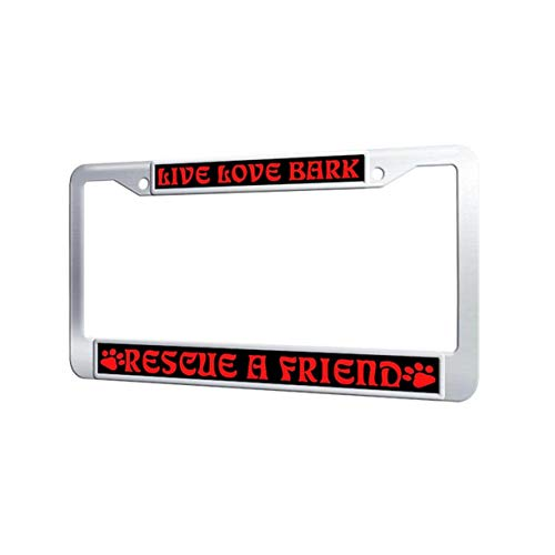 (Toanovelty Live Love Bork Rescue A Friend Auto License Plate Frame, Waterproof Car Plate Frame with Screw Cover, Vintage Stainless Steel License Plate Covers for car 6' x 12.5')