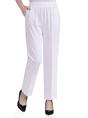 Soojun Womens Stretch Knit Pants Pull On Pants with Elastic Waist, 2 White, 12 Petite