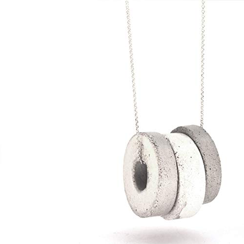 Three concrete washer pendants hang on Long silver chain - Open circle necklace - Men's and women's donut jewelry - Edgy hoop round pendant necklace - Geometric unisex jewellery
