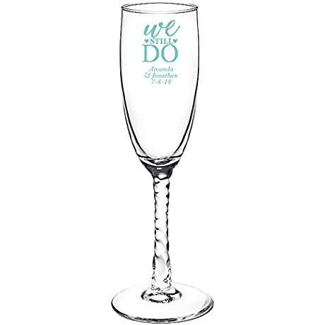 Personalized Color Printed Twisted Stem Champagne Flute We Still Do Robins Egg Blue 144 Pack