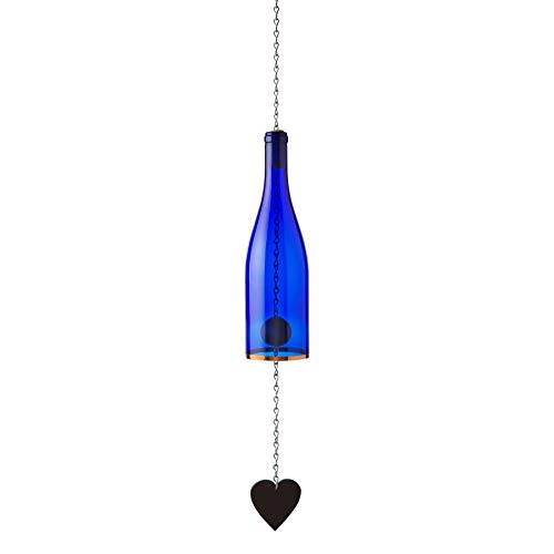 Blue Ridge Mountain Gifts Wine Bottle Wind Chimes Outdoor Garden Decor Outdoor Decor Yard Decorations Patio Decor Porch Decor (Cobalt Blue)