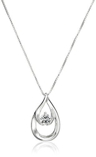 Sterling Teardrop Pendant Zirconia Necklace