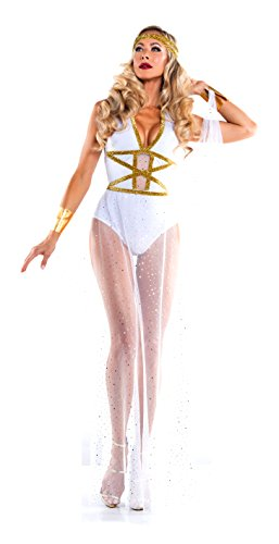 Sexy Goddess Costumes (Starline Women's Goddess of Love Romper and Skirt Costume with Headband, White, Medium)