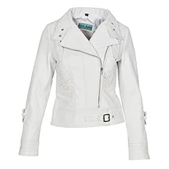 Womens Real Leather Biker Style Fitted Cross Zip Jacket Hetty White (10)