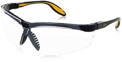 Uvex S3520D Genesis X2 Safety Eyewear, Black and Yellow Frame, Clear Dura-Streme Hardcoat/Anti-Fog Lens