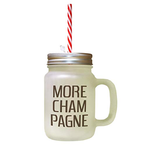 Brown More Cham-Pagne Frosted Glass Mason Jar With Straw