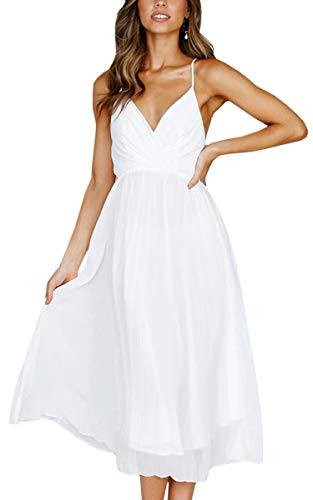 ECOWISH Womens Summer Sexy Spaghetti Strap Backless Maxi Dress Party Swing Wrap V Neck Long Dresses White XL