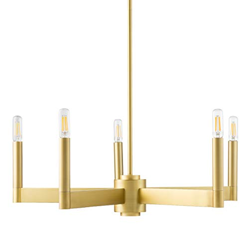 Trento Modern 5 Light Chandelier - Satin Brass w/Bulbs - Linea di Liara - Chandeliers Finish Brass Satin