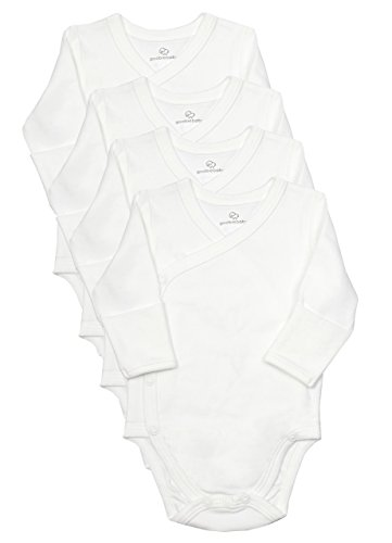 Cotton Kimono Wrap (Baby Side Snap Bodysuit Set, Long Sleeve Cotton Boy Girl Kimono Onesie, 4 Pack)