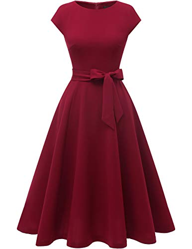 DRESSTELLS Women's Cocktail Party Dress Bridesmaid Swing Vintage Tea Dress with Cap-Sleeves Burgundy 2XL]()
