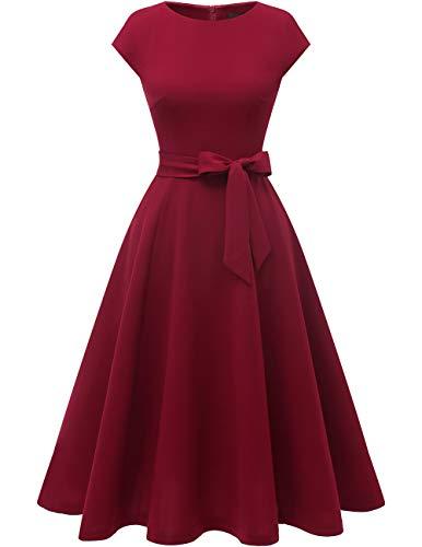 Suegras En Halloween (DRESSTELLS Women's Vintage Homecoming Tea Dress Cocktail Party Swing Dress with Cap-Sleeves Burgundy)