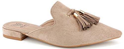 (Beast Fashion Gem-01 Suede Pointed Toe Slip On Tassels Flat Loafer Mules (8.5, Taupe))