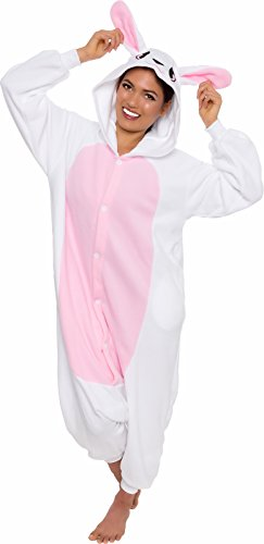 Silver Lilly Unisex Adult Pajamas - One Piece Cosplay Bunny Animal Costume (XL) White/Pink -