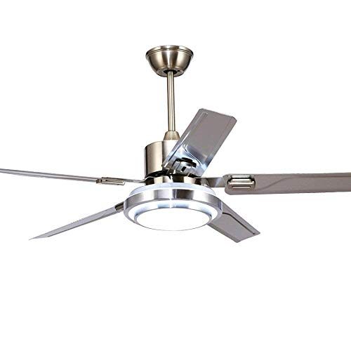 Fandian 48 Modern Ceiling Fans with light Reversible 5 Stainless Steel Blades Three speeds and Three Color Changes Lighting Fixture, Silent Motor with LED Board Included 48inch