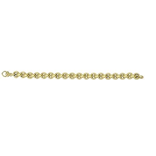 14K Yellow Gold Shiny Diamond Cut 9.5mm Round Rolo Type 8