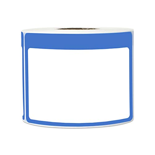 - 300 Labels - Name Tag Stickers Write-On Surface with Colorful Border for Visitor Badges (3.5 x 2.25 Inch, Blue, 1 Roll)