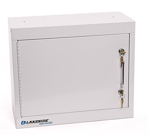 LAKESIDE MANUFACTURING LNC-1 Lakeside Narcotics Cabinet-1 Door,Double Lock, Handle-2 Adjustable Shelf, Beige , 15'' Height, 18'' width by Lakeside Manufacturing
