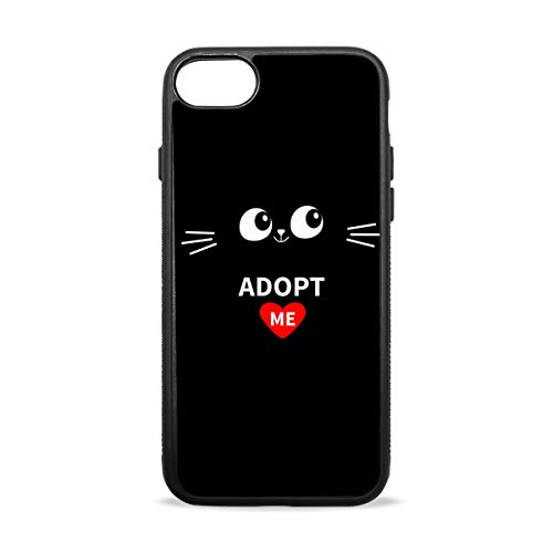 iPhone 7 Case. Adopt Me Heart Love Cat Shock Absorption TPU+PC+Pearl Plate Material Cover Case Drop Protection Phone Case for iPhone 7/8 -
