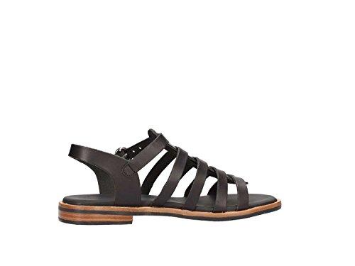 Frau 85N8 sandali da donna in pelle col. Nero fondo bicolore cuoio/gomma, num. 38