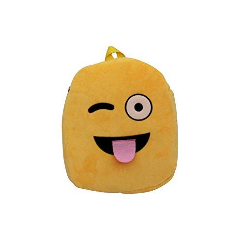 Toyvian Cute Plush School Backpack Cartoon Rucksack for Kids Children School Supplies (Naughty Face) ()