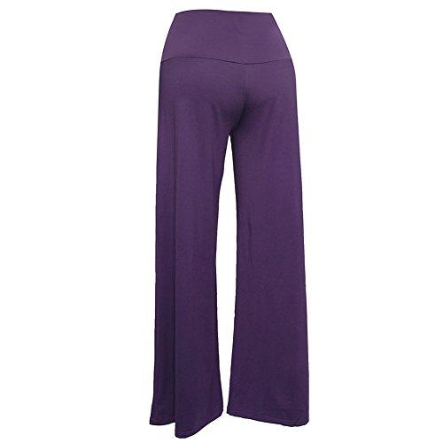 Mujer Pantalones Talle Alto Largos De Pernera Ancha Para Yoga Casual Pantalón Morado