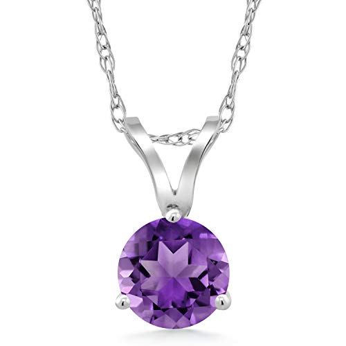 Gem Stone King 0.45 Ct Round Purple Amethyst 18K White Gold Pendant With Chain ()