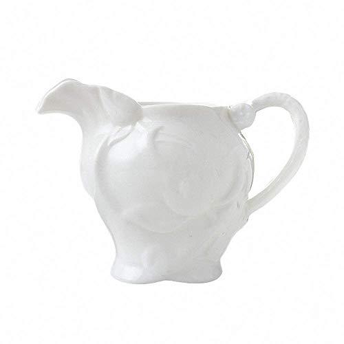(Elegant Lotus Embossed Ceramic Creamer Cute Spout Coffee Milk Tea Pitcher Porcelain Honey Jug Sauce Pitcher Jug Vase Syrup Dressing Server Mug Cup Creamer with Handle Home Decor White)