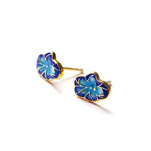 925 Pure Silver Gilding Lotus Leaf Enamel Cloisonne Blue Classic Antique Style Ear Stud Earrings