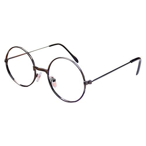 Fille Garçon lunettes rondes - Verres à lentilles transparentes Cadre Geek / Nerd Eyewear Lunettes avec boîtier en forme de voiture - hibote Gris