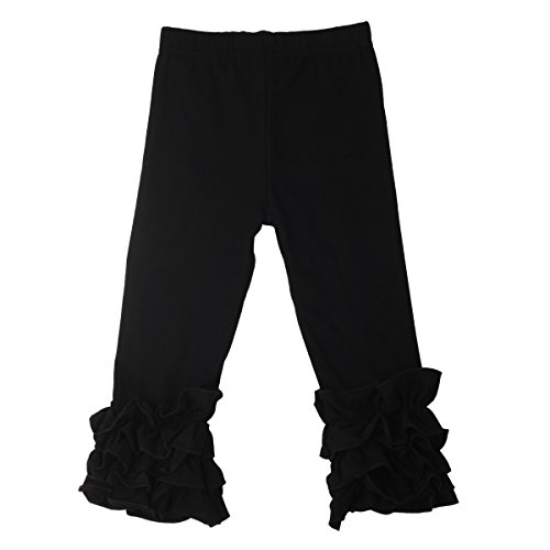 Slowera Little Girls' Ruffle Leggings Baby Toddler Solid Color Flower Pants (Black, XXXS: 3-6 Months)