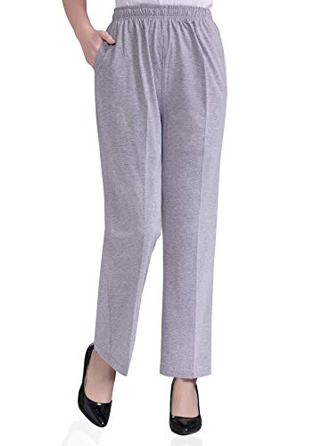 Soojun Womens Stretch Knit Pants Pull On Pants with Elastic Waist, 2 Light Grey, 8 Petite