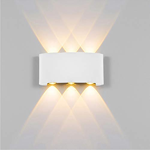 Euone Clearance Sales, Led Aluminum Wall Lamp Double Head Up And Down Light Black/White Curved (White)