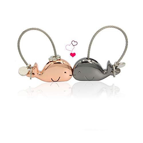 """Give him/her a sweet kiss"" whale Keychain Couple keychain Valentine"